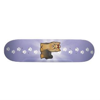 Cartoon Yorkshire Terrier (long hair with bow) Skateboards