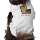 Cartoon Yorkshire Terrier (long hair with bow) Sleeveless Dog Shirt