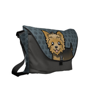 Cartoon Yorkshire Terrier (short hair no bow) Courier Bags