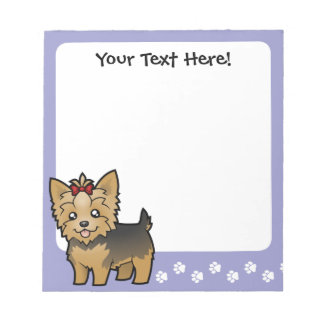 Cartoon Yorkshire Terrier (short hair with bow) Notepad