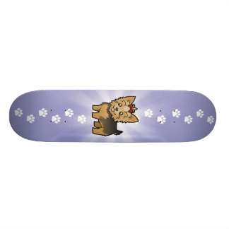 Cartoon Yorkshire Terrier (short hair with bow) Skate Boards