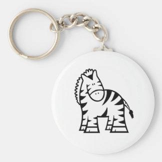 Cartoon Zebra Basic Button Key Ring