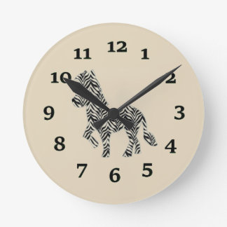 Cartoon Zebra Round Clock