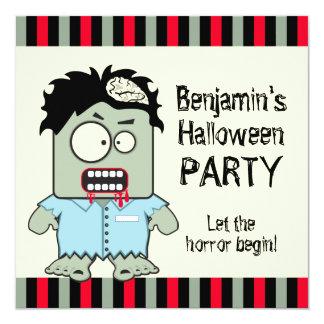 Cartoon Zombie Halloween Party Card
