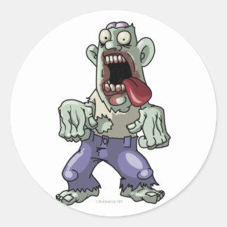 Cartoon Zombie Round Sticker
