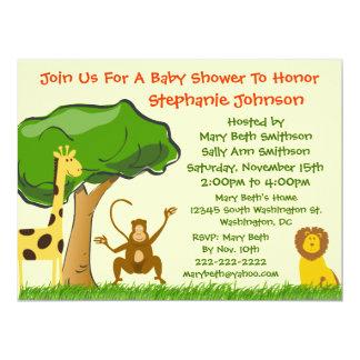 Cartoon Zoo and Jungle Animals Generic Baby Shower Invitations
