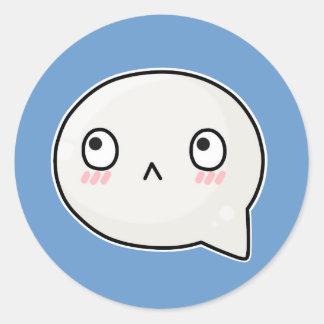 cartoonish sad face round sticker