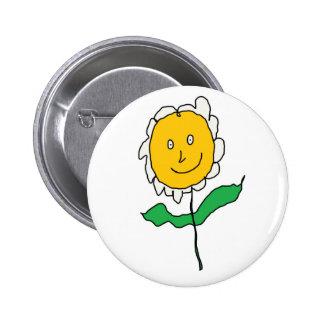 Cartoony Daisy Flower 6 Cm Round Badge