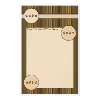 Cartwheel Bears Vertical Stripes Stationery