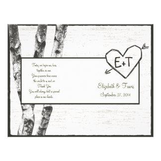Carved Birch Tree Wedding Program Flyer