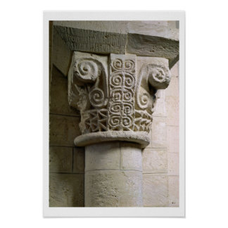 Carved column decorated with croziers and spirals poster