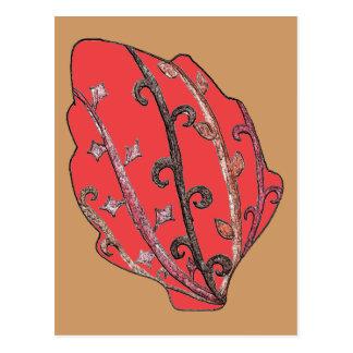 Carved Detail Autumn Leaf Postcard