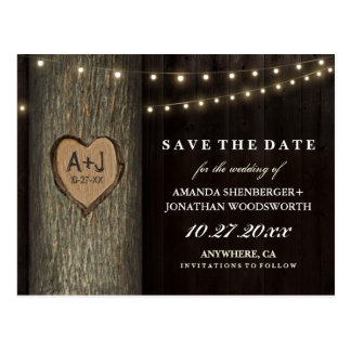 Carved Grandfather Oak Tree Save The Date Cards