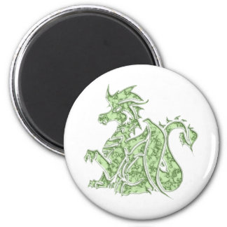 Carved Green Marble Dragon 6 Cm Round Magnet