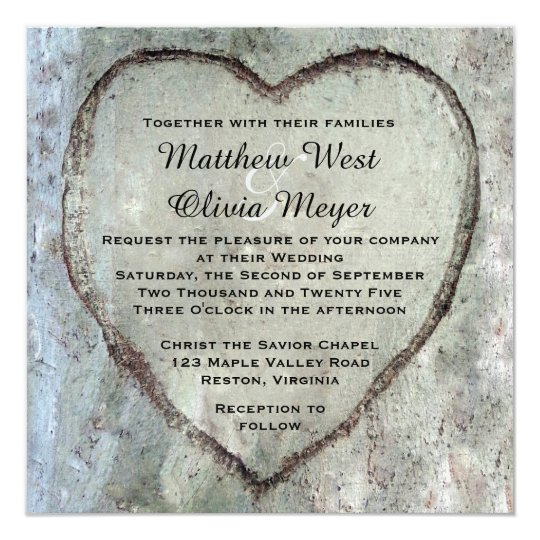 Carved Heart Birch Tree Wedding Card