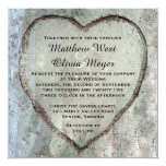 Carved Heart Birch Tree Wedding Personalised Invites