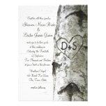 Carved Heart Birch Tree Wedding Invitations