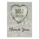 Carved Heart Birch Tree Wedding Thank You 9 Cm X 13 Cm Invitation Card