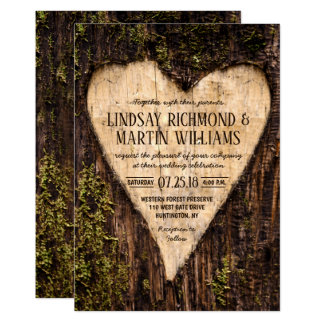 Carved Heart Country Rustic Tree Wedding Card