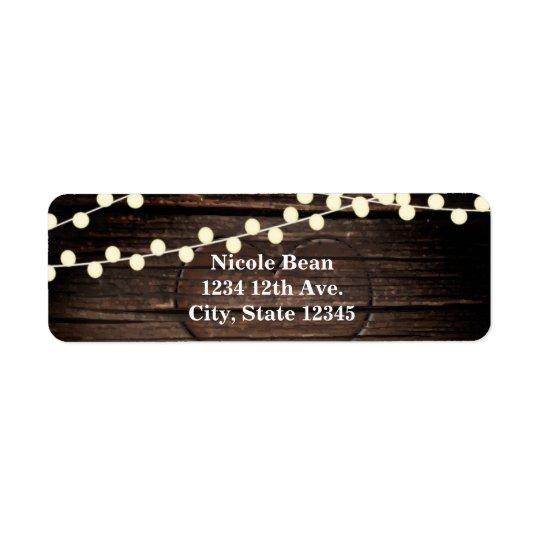 Carved Heart in Wood & String Lights Rustic Return Address Label