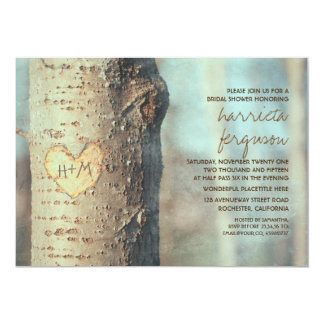 carved heart tree rustic bridal shower 13 cm x 18 cm invitation card