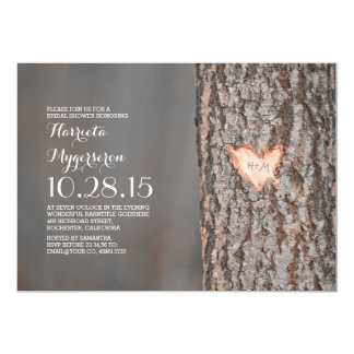carved heart tree rustic country bridal shower 5x7 paper invitation card