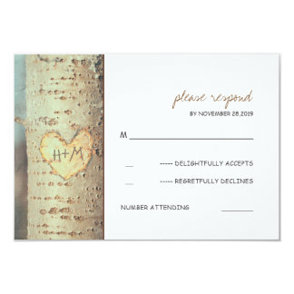 carved heart tree rustic RSVP cards