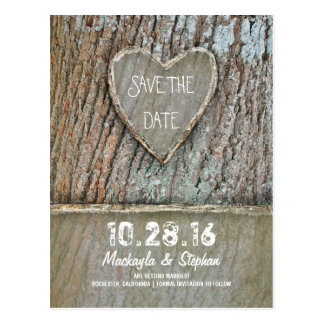 Carved heart tree rustic save the date postcards