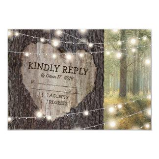 Carved Heart Tree Wedding RSVP 9 Cm X 13 Cm Invitation Card