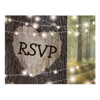 Carved Heart Tree Wedding RSVP Postcard