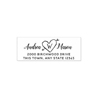 Carved Heart with Monogram Address Self-inking Stamp