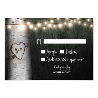 Carved Initials Birch Tree Wedding RSVP Cards 9 Cm X 13 Cm Invitation Card