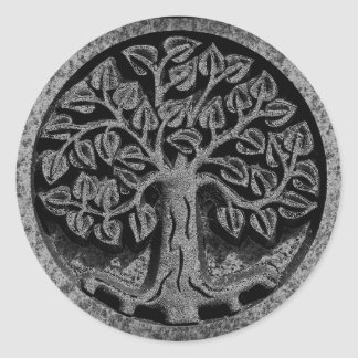 Carved Marble Stone Tree of Life Circle Stickers