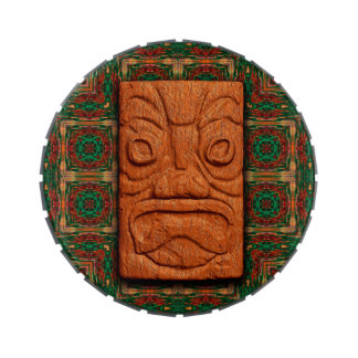 Carved Square Tiki Candy Tin