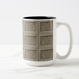 Carved Stone Celtic Knots Tiled Pattern Mug Two-Tone Mug