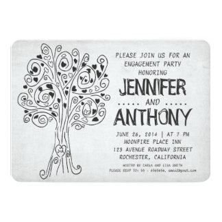 "carved tree modern engagement party invitations 5"" x 7"" invitation card"