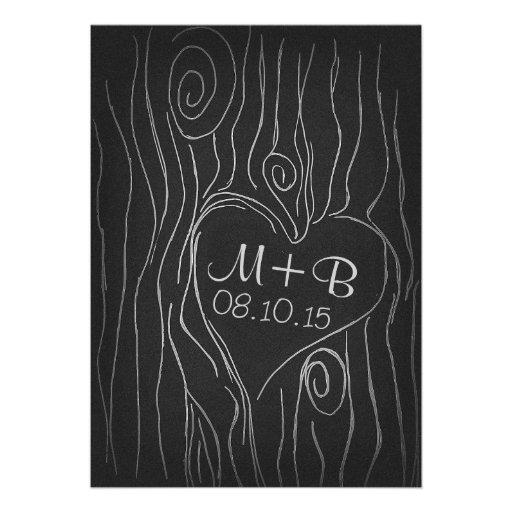 carved tree wood black save the date card