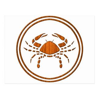 Carved Wood Cancer Zodiac Symbol Postcard