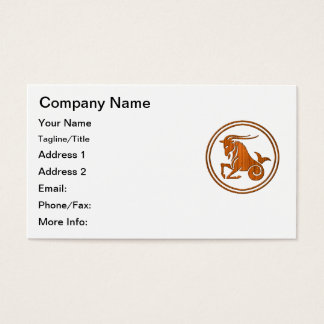 Carved Wood Capricorn Zodiac Symbol Business Card