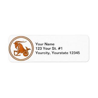 Carved Wood Capricorn Zodiac Symbol Return Address Label