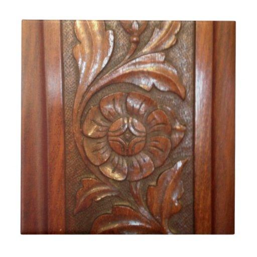 carved wood flower filigree pattern ceramic tiles