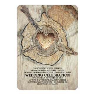 Carved Wood Heart Rustic Tree Card