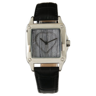 Carved Wood Heart Rustic Wedding Watch