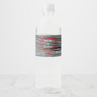 Carved Wood Heart Rustic Wedding Water Bottle Label