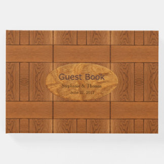 Carved Wood Look Wedding Guest Book