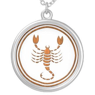 Carved Wood Scorpio Zodiac Symbol Round Pendant Necklace
