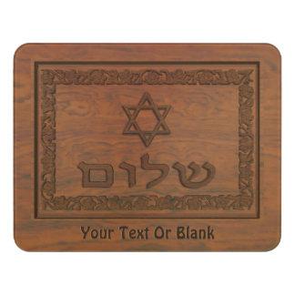 Carved Wood Shalom Door Sign
