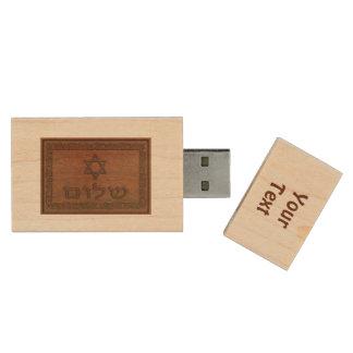 Carved Wood Shalom Wood USB 2.0 Flash Drive