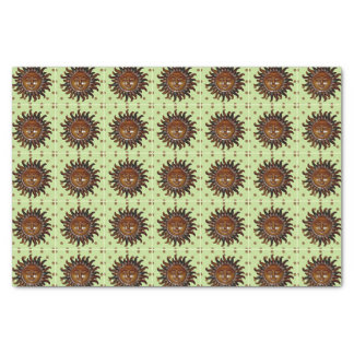 Carved Wooden Sun on Green Polka Dot Background Tissue Paper