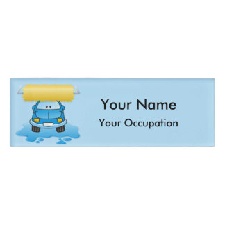 Carwash cartoon Name Tag